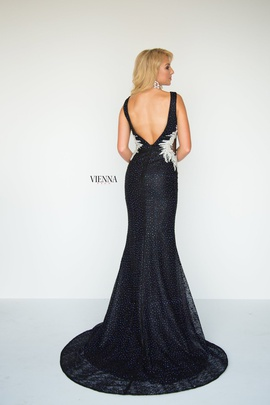Style 8904 Vienna Black Size 8 Backless Tall Height Mermaid Dress on Queenly