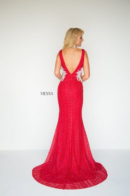 Style 8904 Vienna Red Size 8 Backless Tall Height Mermaid Dress on Queenly