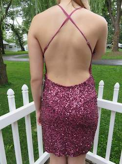 Scala Purple Size 8 Jewelled Peach Straight Dress on Queenly