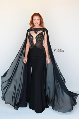 Style 9933 Vienna Black Size 00 Cape Plunge Straight Dress on Queenly