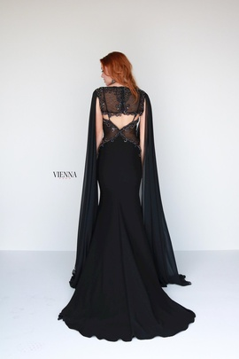 Style 9933 Vienna Black Size 6 Cape Plunge Straight Dress on Queenly