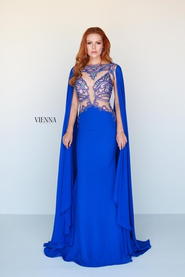 Style 9933 Vienna Blue Size 2 Plunge Straight Dress on Queenly