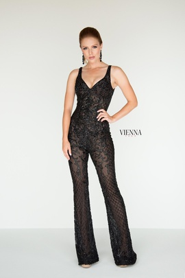 Style 9935 Vienna Black Size 00 Plunge Lace Shiny Romper/Jumpsuit Dress on Queenly
