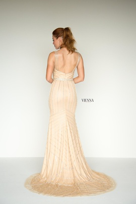 Style 9936 Vienna Gold Size 0 Jewelled Plunge Backless Mermaid Dress on Queenly