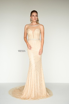 Style 9936 Vienna Gold Size 2 Jewelled Plunge Backless Mermaid Dress on Queenly