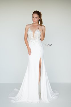 Style 9938 Vienna White Size 4 Train Tall Height Lace Side slit Dress on Queenly