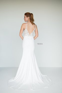 Style 9938 Vienna White Size 8 Train Tall Height Lace Side slit Dress on Queenly
