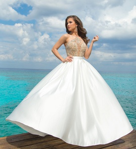Style 9939 Vienna White Size 4 Train Sheer A-line Dress on Queenly