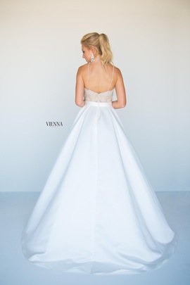 Style 9939 Vienna White Size 6 Backless Train Sheer A-line Dress on Queenly