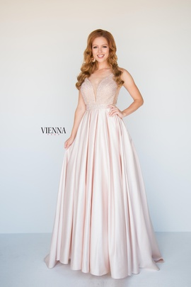Style 9940 Vienna Gold Size 8 Tall Height Sheer A-line Dress on Queenly