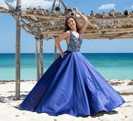 Style 9941 Vienna Blue Size 10 Sheer Train Plunge A-line Dress on Queenly