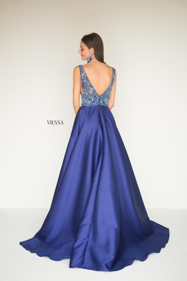 Style 9941 Vienna Blue Size 12 Backless Tall Height Sheer A-line Dress on Queenly