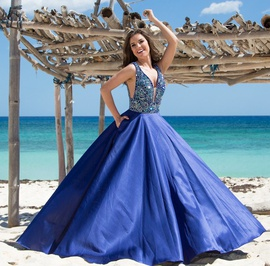 Queenly size 12 Vienna Blue A-line evening gown/formal dress