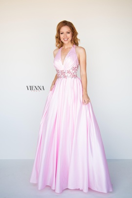 Style 9942 Vienna Light Pink Size 00 Halter A-line Dress on Queenly