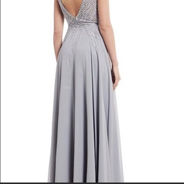 Silver Size 14 Side slit Dress on Queenly