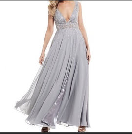 Queenly size 14  Silver Side slit evening gown/formal dress