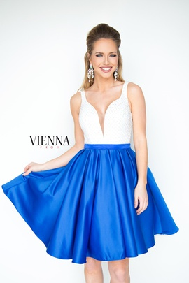 Style 6093 Vienna Blue Size 8 Interview Plunge Cocktail Dress on Queenly