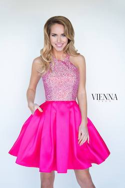 Style 6094 Vienna Pink Size 16 Halter Plus Size Cocktail Dress on Queenly
