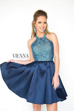 Style 6094 Vienna Blue Size 12 Flare Halter Plus Size Cocktail Dress on Queenly