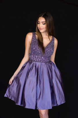 Style 6097 Vienna Purple Size 20 Plunge Interview Plus Size Cocktail Dress on Queenly