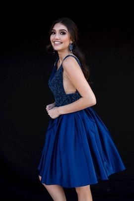 Style 6097 Vienna Blue Size 10 Interview Plunge Cocktail Dress on Queenly