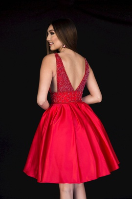 Style 6097 Vienna Red Size 10 Interview Plunge Cocktail Dress on Queenly