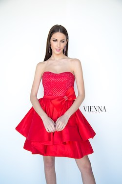 Style 6100 Vienna Red Size 2 Tall Height Cocktail Dress on Queenly