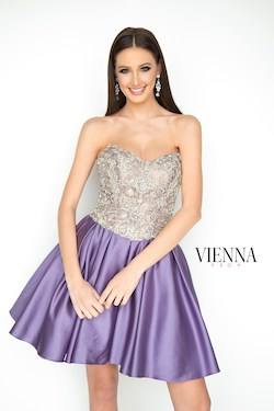 Style 6103 Vienna Purple Size 10 Flare Strapless Cocktail Dress on Queenly