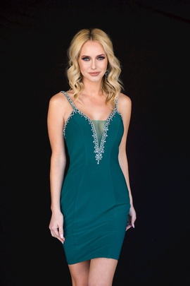Style 6122 Vienna Green Size 0 Mini Plunge Cocktail Dress on Queenly