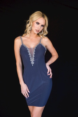 Style 6122 Vienna Blue Size 8 Mini Plunge Cocktail Dress on Queenly