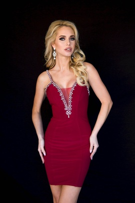 Queenly size 00 Vienna Red Cocktail evening gown/formal dress