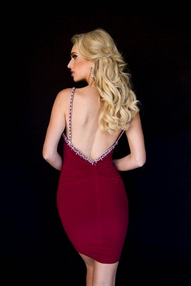 Style 6122 Vienna Red Size 8 Plunge Backless Cocktail Dress on Queenly