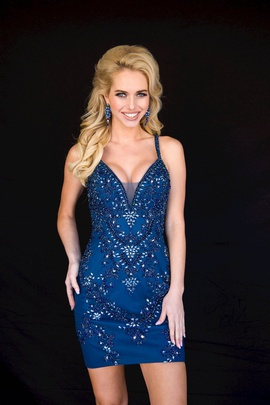 Style 6124 Vienna Blue Size 12 Mini Plunge Plus Size Cocktail Dress on Queenly