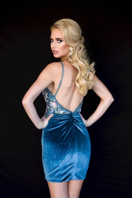 Style 6125 Vienna Blue Size 8 Mini Plunge Cocktail Dress on Queenly