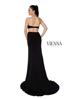 Style 8402 Vienna Black Size 00 Train Cut Out Side slit Dress on Queenly