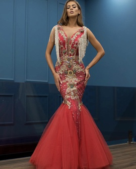 Queenly size 4  Red Mermaid evening gown/formal dress