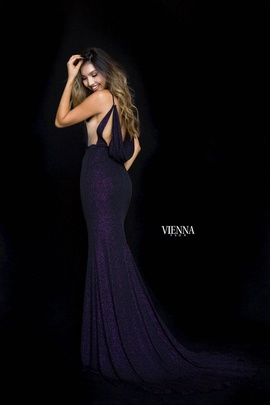 Style 8455 Vienna Purple Size 10 Cut Out Plunge Side slit Dress on Queenly