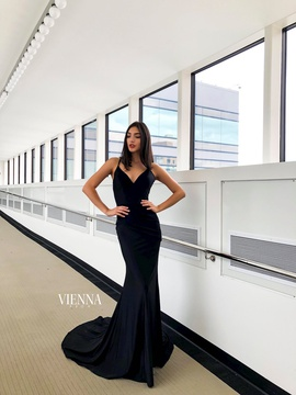Style 8459 Vienna Black Size 2 Backless Tall Height Mermaid Dress on Queenly