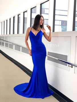 Style 8459 Vienna Blue Size 12 Plus Size Backless Mermaid Dress on Queenly