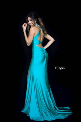 Style 8461 Vienna Green Size 10 Backless Tall Height Side slit Dress on Queenly