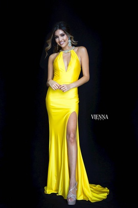 Style 8461 Vienna Yellow Size 8 Plunge Backless Side slit Dress on Queenly