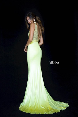 Style 8464 Vienna Yellow Size 2 Plunge Mermaid Dress on Queenly