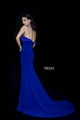 Style 8466 Vienna Blue Size 2 Backless Tall Height Mermaid Dress on Queenly