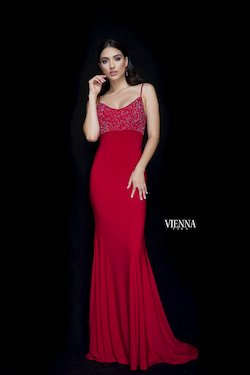 Style 8466 Vienna Red Size 6 Backless Tall Height Mermaid Dress on Queenly