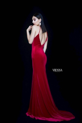 Style 8468 Vienna Red Size 00 Halter Mermaid Dress on Queenly