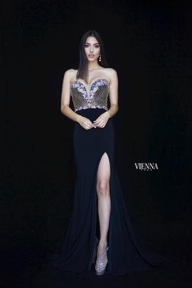 Queenly size 12 Vienna Black Side slit evening gown/formal dress