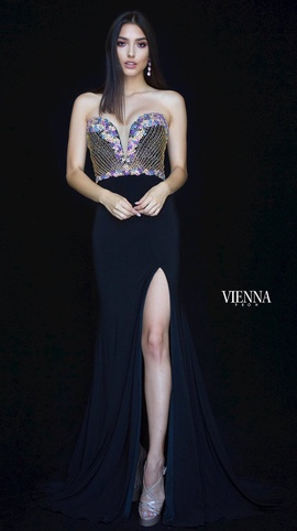Style 8469 Vienna Black Size 6 Jewelled Sweetheart Tall Height Side slit Dress on Queenly