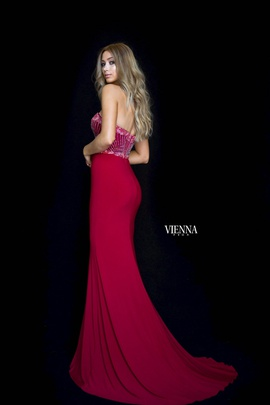 Style 8469 Vienna Red Size 00 Jewelled Sweetheart Tall Height Side slit Dress on Queenly