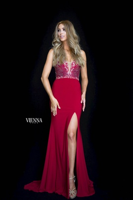 Queenly size 00 Vienna Red Side slit evening gown/formal dress