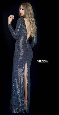 Style 8471 Vienna Gold Size 4 Backless Tall Height Side slit Dress on Queenly